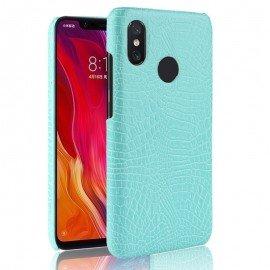 Coque Xiaomi MI 8 Croco Cuir Turquoise