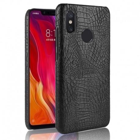 Coque Xiaomi MI 8 Croco Cuir Noir
