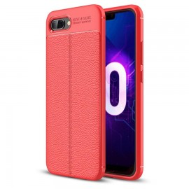 Coque Silicone Honor 10 Cuir 3D Rouge