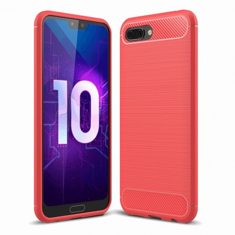 Coque Silicone Honor 10 3D Carbone Rouge