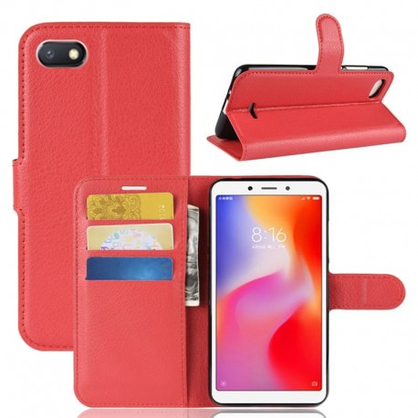 Etuis Portefeuille Xiaomi Redmi 6 Simili Cuir Rouge