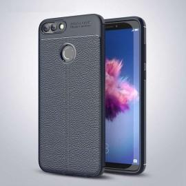 Coque Silicone Huawei P Smart Cuir 3D Bleu