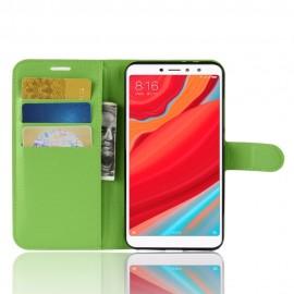 Etuis Portefeuille Xiaomi Redmi S2 Simili Cuir Verte