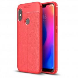 Coque Silicone Xiaomi MI A2 Lite Cuir 3D Rouge