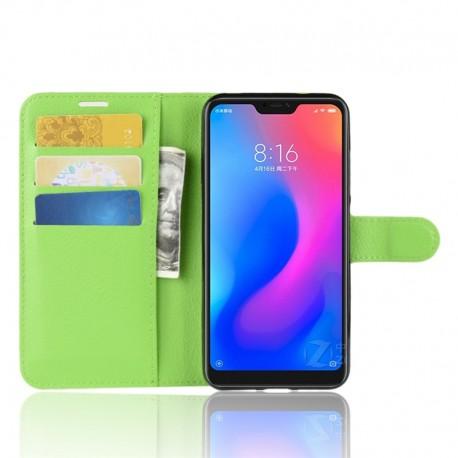 Etuis Portefeuille Xiaomi MI A2 Lite Simili Cuir Verte
