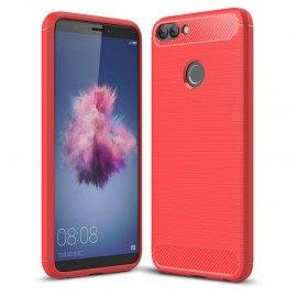 Coque Silicone Huawei P Smart Brossé Rouge