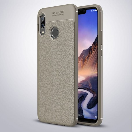 Coque Silicone Huawei P Smart Plus Cuir 3D Grise