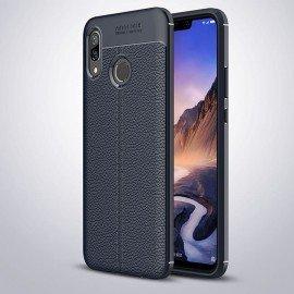 Coque Silicone Huawei P Smart Plus Cuir 3D Bleu