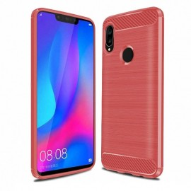 Coque Silicone Huawei P Smart Plus Brossé Rouge