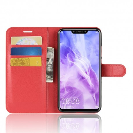 Etuis Portefeuille Huawei P Smart Plus Simili Cuir Rouge