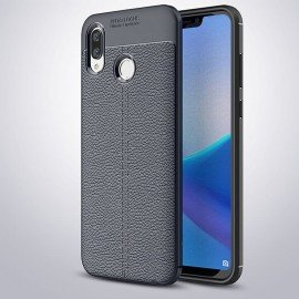 Coque Silicone Honor Play Cuir 3D Bleu