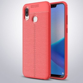 Coque Silicone Honor Play Cuir 3D Rouge