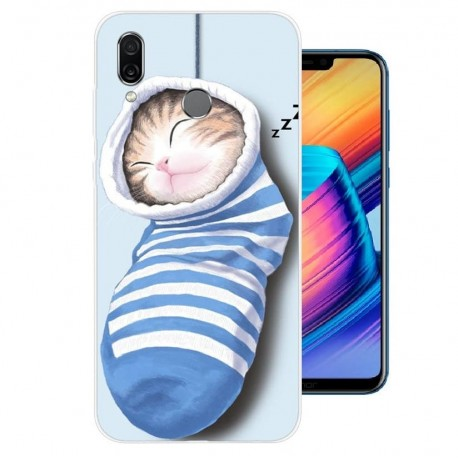 Coque Silicone Honor Play Chaton Dors