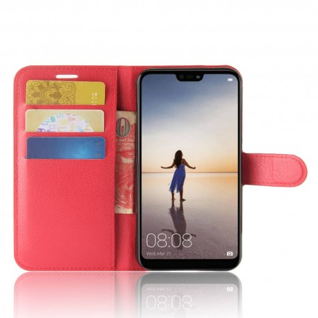 Etuis Portefeuille Huawei P20 Lite Simili Cuir Rouge