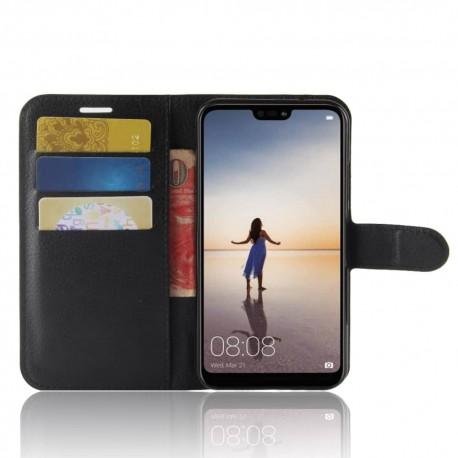 Etuis Portefeuille Huawei P20 Lite Simili Cuir Noir