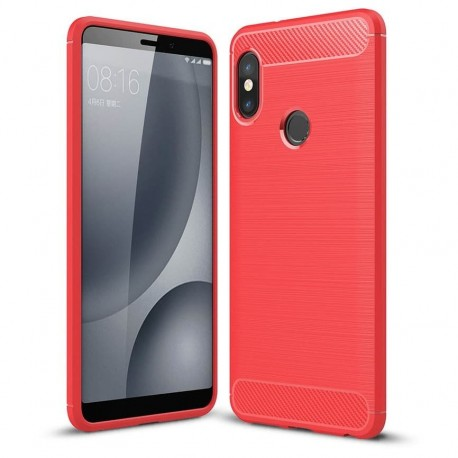 Coque Silicone Xiaomi MI A2 Brossé Rouge