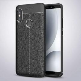 Coque Silicone Xiaomi MI A2 Cuir 3D Noir