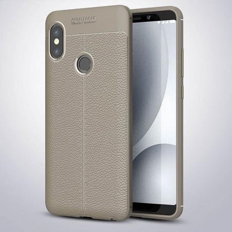 Coque Silicone Xiaomi MI A2 Cuir 3D Grise