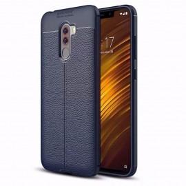 Coque Silicone Xiaomi Pocophone F1 Cuir 3D Bleu