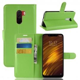 Etuis Portefeuille Xiaomi Pocophone F1 Simili Cuir Verte