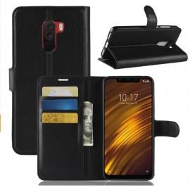 Etuis Portefeuille Xiaomi Pocophone F1 Simili Cuir Noir