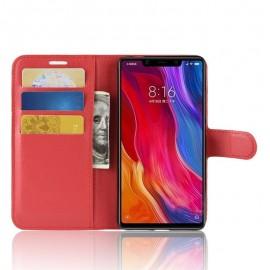 Etuis Portefeuille Xiaomi MI 8 SE Simili Cuir Rouge