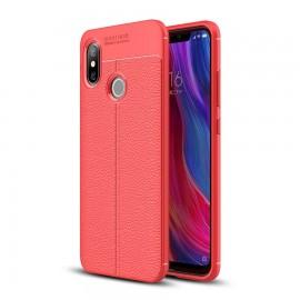 Coque Silicone Xiaomi MI 8 SE Cuir 3D Rouge