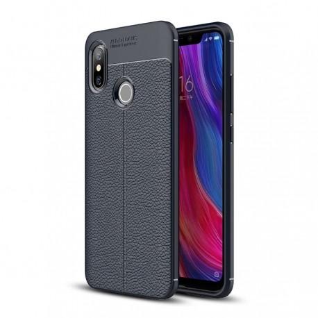 Coque Silicone Xiaomi MI 8 SE Cuir 3D Bleu