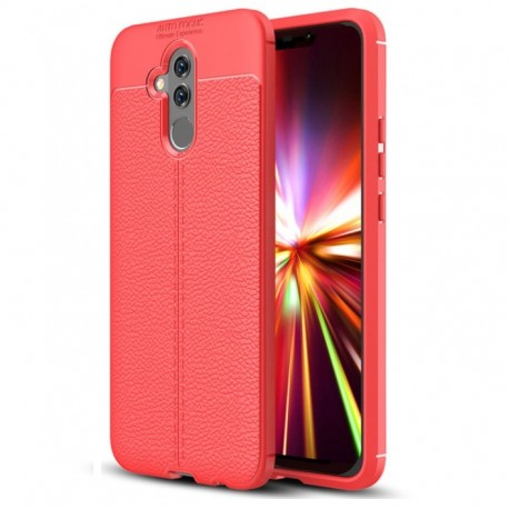 Coque Silicone Huawei Mate 20 Lite Cuir 3D Rouge