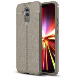 Coque Silicone Huawei Mate 20 Lite Cuir 3D Grise