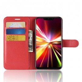 Etuis Portefeuille Huawei Mate 20 Lite Simili Cuir Rouge