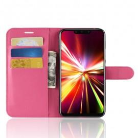 Etuis Portefeuille Huawei Mate 20 Lite Simili Cuir Fushia