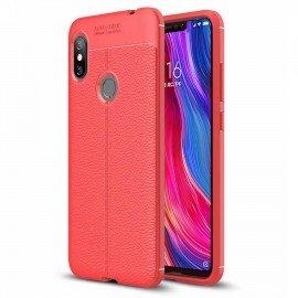 Coque Silicone Xiaomi Redmi Note 6 Pro Cuir 3D Rouge