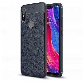Coque Silicone Xiaomi Redmi Note 6 Pro Cuir 3D Bleu