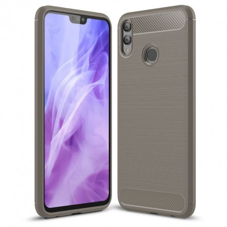 Coque Silicone Honor 8X 3D Carbone Grise