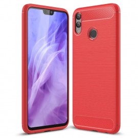Coque Silicone Honor 8X 3D Carbone Rouge