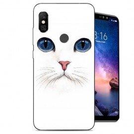 Coque Silicone Xiaomi Redmi Note 6 Pro Chat Blanc
