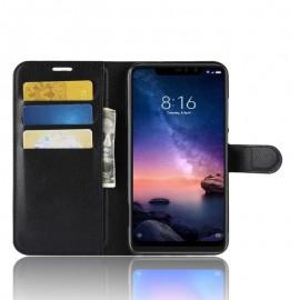 Etuis Portefeuille Xiaomi Redmi Note 6 Pro Simili Cuir Noir