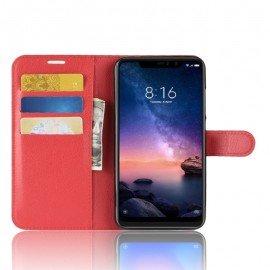 Etuis Portefeuille Xiaomi Redmi Note 6 Pro Simili Cuir Rouge