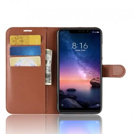 Etuis Portefeuille Xiaomi Redmi Note 6 Pro Simili Cuir Marron