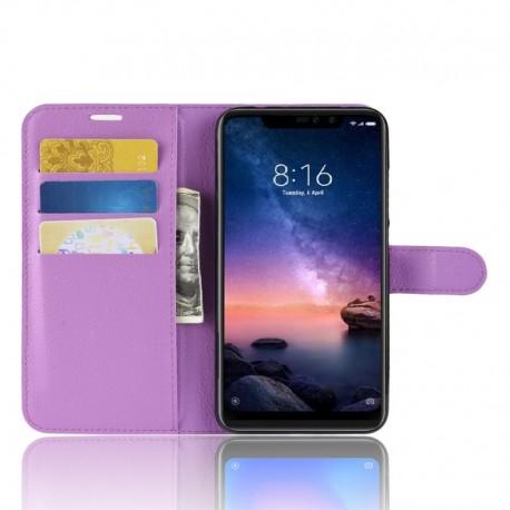 Etuis Portefeuille Xiaomi Redmi Note 6 Pro Simili Cuir Lila