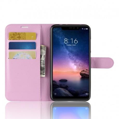 Etuis Portefeuille Xiaomi Redmi Note 6 Pro Simili Cuir Rose