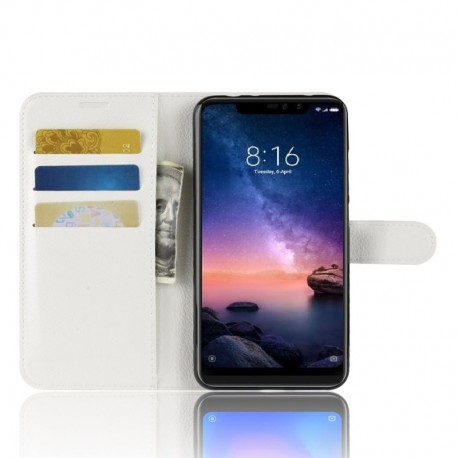 Etuis Portefeuille Xiaomi Redmi Note 6 Pro Simili Cuir Blanche