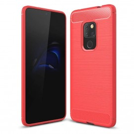 Coque Silicone Huawei Mate 20 Brossé Rouge