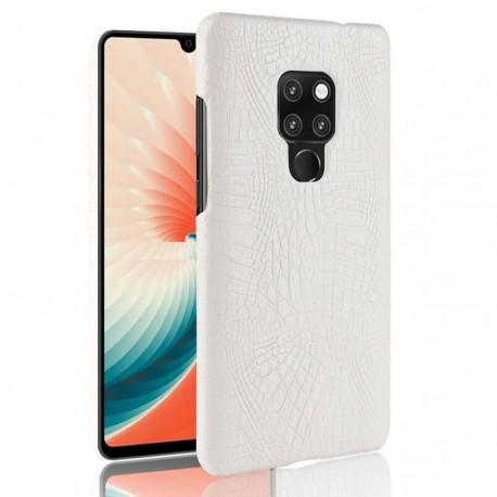 Coque Huawei Mate 20 Cuir Croco Blanche