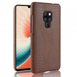 Coque Huawei Mate 20 Cuir Croco Marron