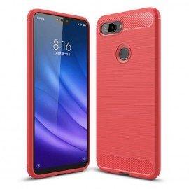 Coque Silicone Xiaomi MI 8 Lite Brossé Rouge