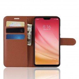 Etuis Portefeuille Xiaomi MI 8 Lite Simili Cuir Marron