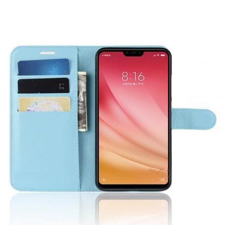 Etuis Portefeuille Xiaomi MI 8 Lite Simili Cuir Bleu