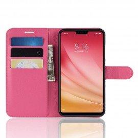 Etuis Portefeuille Xiaomi MI 8 Lite Simili Cuir Rose